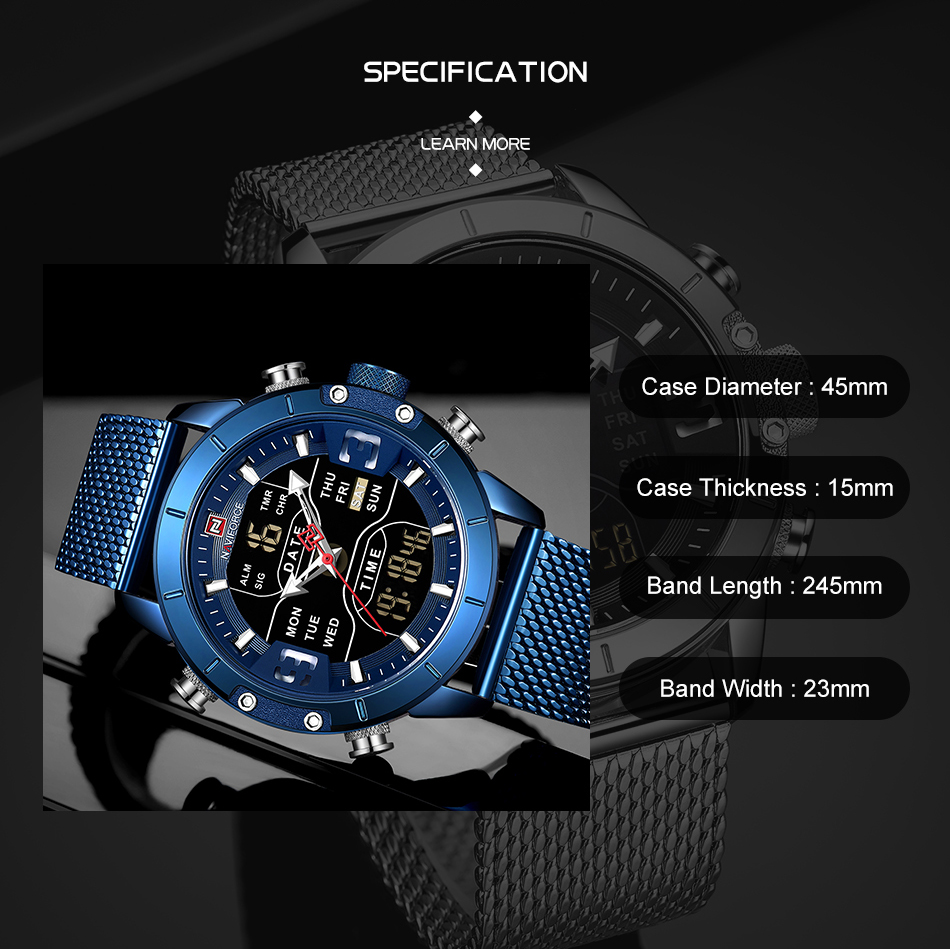 Naviforce Watch Men Top Brand Luxury Army Military Stainless Steel Mesh Mens Wristwatch Waterproof Digital Quartz Sports Watches (3)