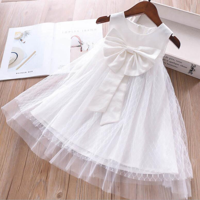 White Girl Dresses 2019 Summer Girls Party Dress Fashion Princess Dresses Sleeveless Baby Party Dress Sweet Kids Clothing