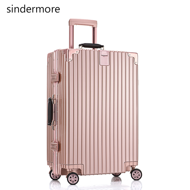 "sindermore 26"" Vintage luggage PC aluminium fram&Multi wheel&checked travel bag trolley case hardside rolling luggage suitcase"