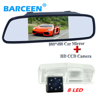 wire black 5 car rear view mirror with 170 wide viewing lens angle car backup camera 8 led for Toyota RAV4