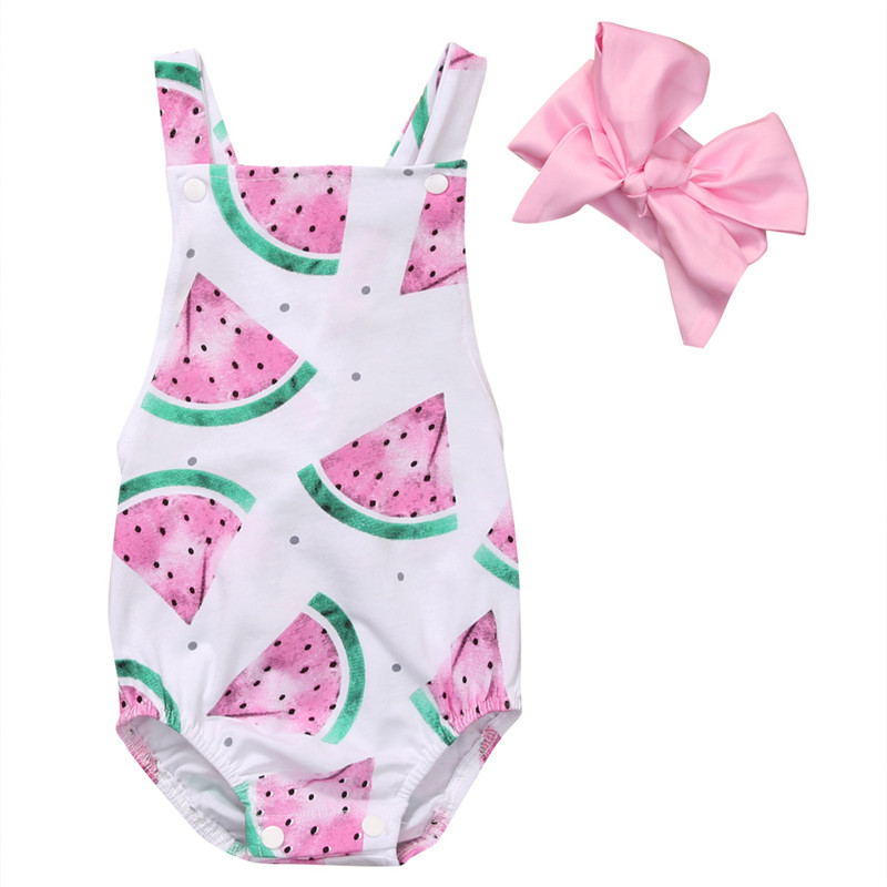 2017 Summer Baby Girls Clothes Sleeveless Watermelon Infant Bebes Romper Backless Halter Jumpsuit +Headband 2pcs Outfit Sunsuit 2pcs set ruffles newborn infant baby girls backless halter jumpsuit lace romper one pieces outfit sunsuit children clothes 0 24m