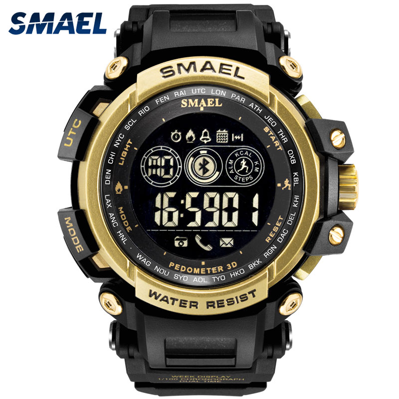 SMAEL digital watches Men Smart Watch Clock Smartwatch Android iOS Heart Rate Monitor 180 Days Battery Life IP68 Always-on Displ
