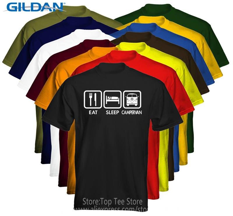 Printing On T Shirts Short O-Neck Office Mens Eat Sleep Campervan Tee