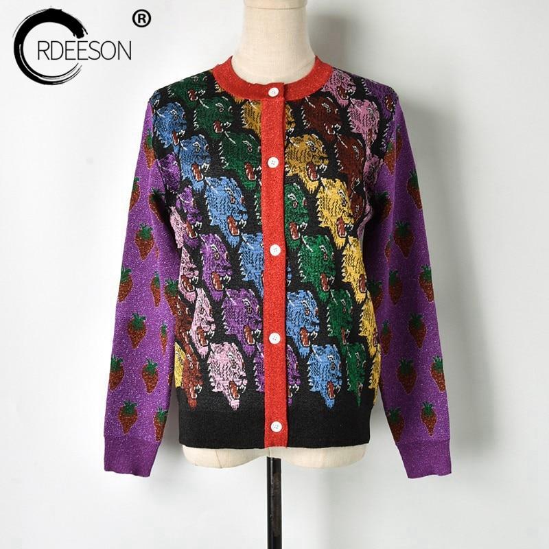 ORDEESON Tiger Head Cardigan Women Korean Sweaters Fashion 2018 Women Coat 2018 Fall Fashion Jumper Winter Rainbow Tops Autumn cardigan