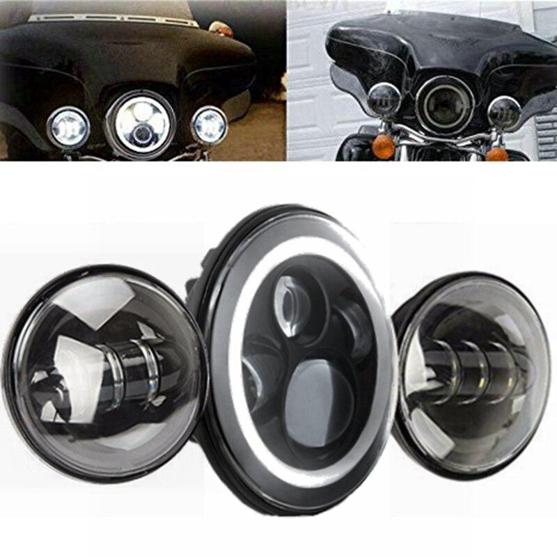 """Здесь можно купить   7"""" Motorcycle Projector Daymaker LED Headlight Passing Lights Set For Harley HD Автомобили и Мотоциклы"""