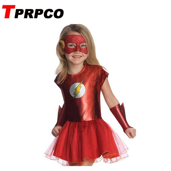 TPRPCO Girls the flash superhero cosplay costumes fantasia vestido halloween fancy Tutu dress carnival party Outfit N135