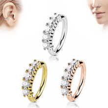 TTLIFE Trendy Crystal Nose Ring Vintage Rhinestone Stainless Steel Nose Hoop Ring Earrings For Women Femme Jewelry Bijoux trendy cross rhinestone decorated ring for women