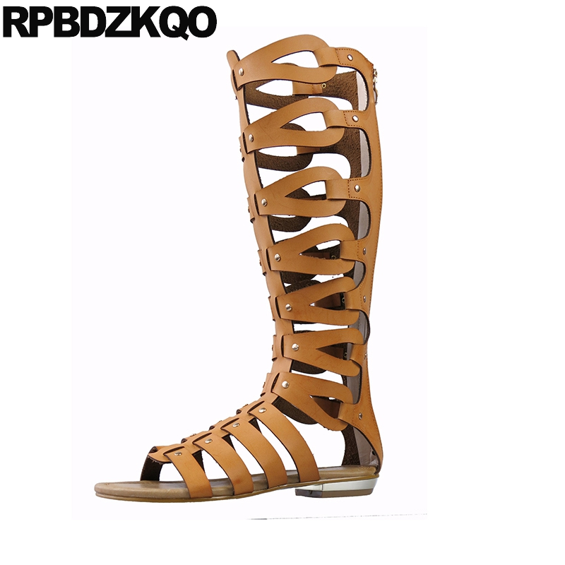 Boots Strappy Open Toe Big Size Blue Brown Knee High Gladiator Sandals Flat Summer Ladies Designer Roman 2018 Women Shoes Yellow
