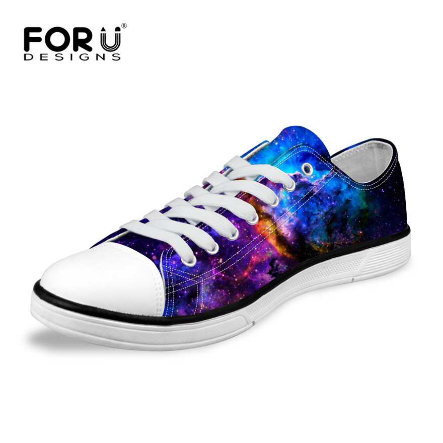 FORUDESIGNS Classic Mens Casual Vulcanize Shoes Male Low Style Canvas Shoes Fashion Man Universe Space Star Galaxy Flat Shoes