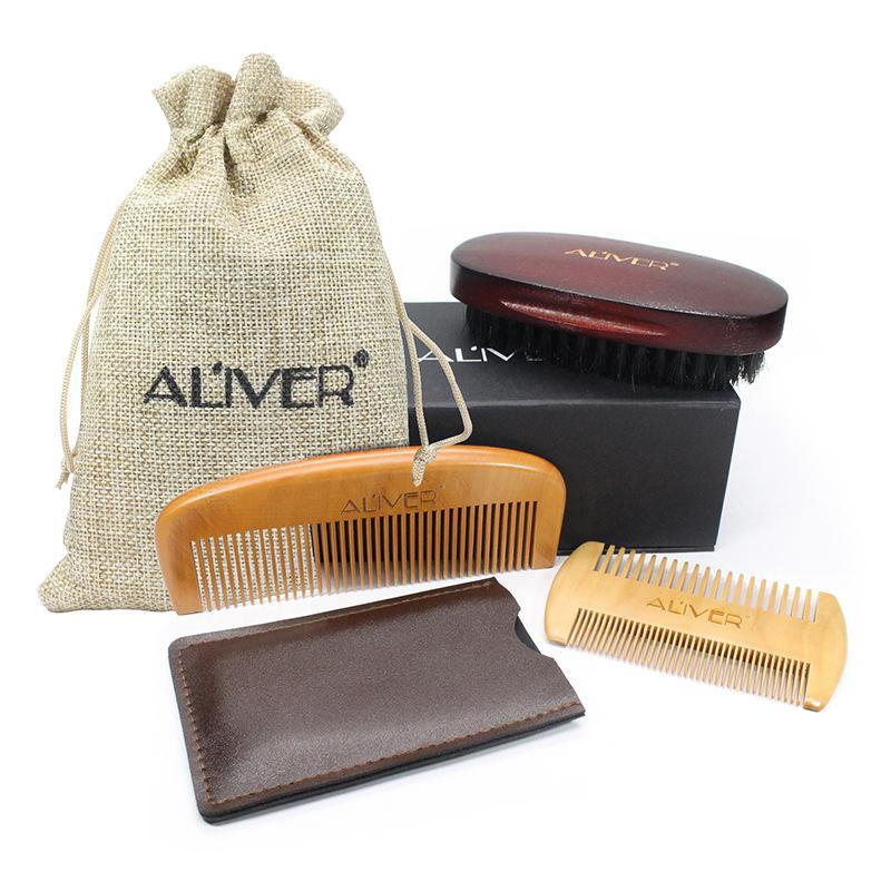 3PCS Male Beard Care Set Beard Comb Double-side Comb Brush Gift
