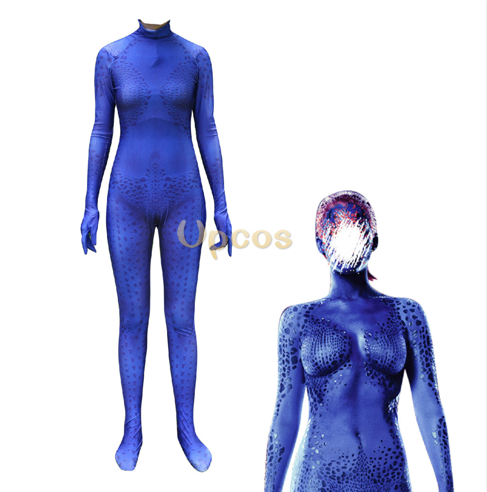 Nouveau Costume Mystique fille corbeau Darkholme combinaisons Cosplay impression 3D collants bleu foudre