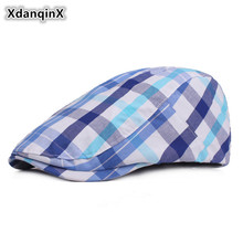 XdanqinX Womens Plaid Cotton Cloth Berets Spring Summer Thin Section Literary Young Sun Visor Cap Adjust Size Adult Female Hat