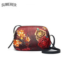SUWERER 2019 New Women Genuine Leather bags luxury handbags women bag designer cow Embossed bag women leather shoulder bag недорого