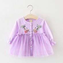 DIIMUU Toddler Newborn Kids Fashion Baby Girls Clothing Long Sleeve Dresses Cotton Embroidery Flowers Children Casual Dress