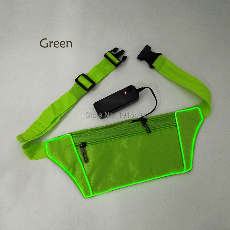 Flashlight Neon EL Wire Sport Waist Belt Pack For Men Stylish Glowing Sport Fitness Pock ...