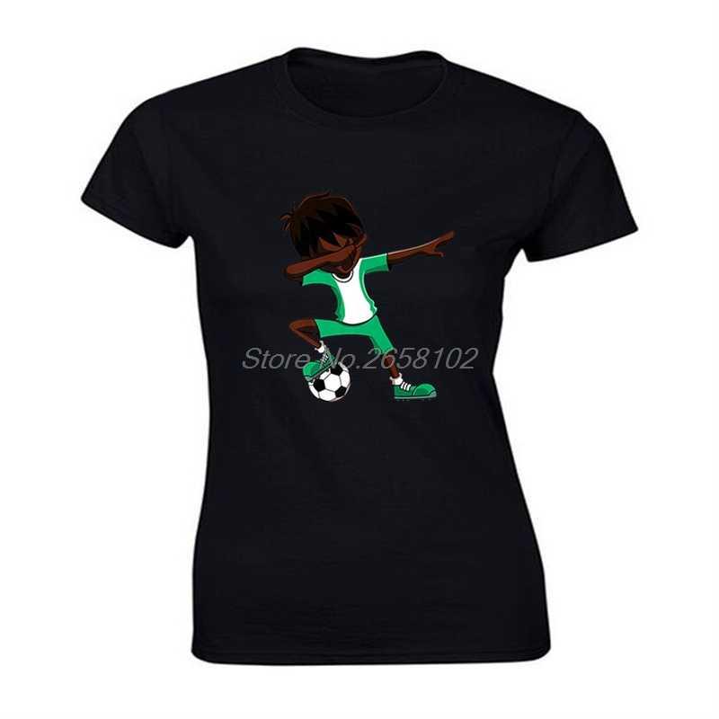 Nuove donne di Estate 100% T-Shirt In Cotone Fresco Tamponando Calcio Attrezzature Varie Camicia, Nigeria Bandiera Calciatore Slim Fit T Camicette Harajuku