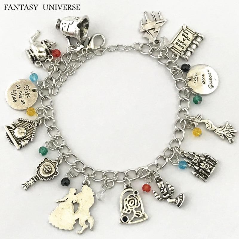 Univers fantastique livraison gratuite 20 pc beaucoup bracelet à breloques belle et la bête BKSLJOHN08-in Charme Bracelets from Bijoux et Accessoires    1