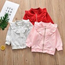 Kid Baby Girls Cotton Long Sleeve Solid Zipper Sweatsuit Tops Outerwear Ruffle Design Autumn Clothes недорого
