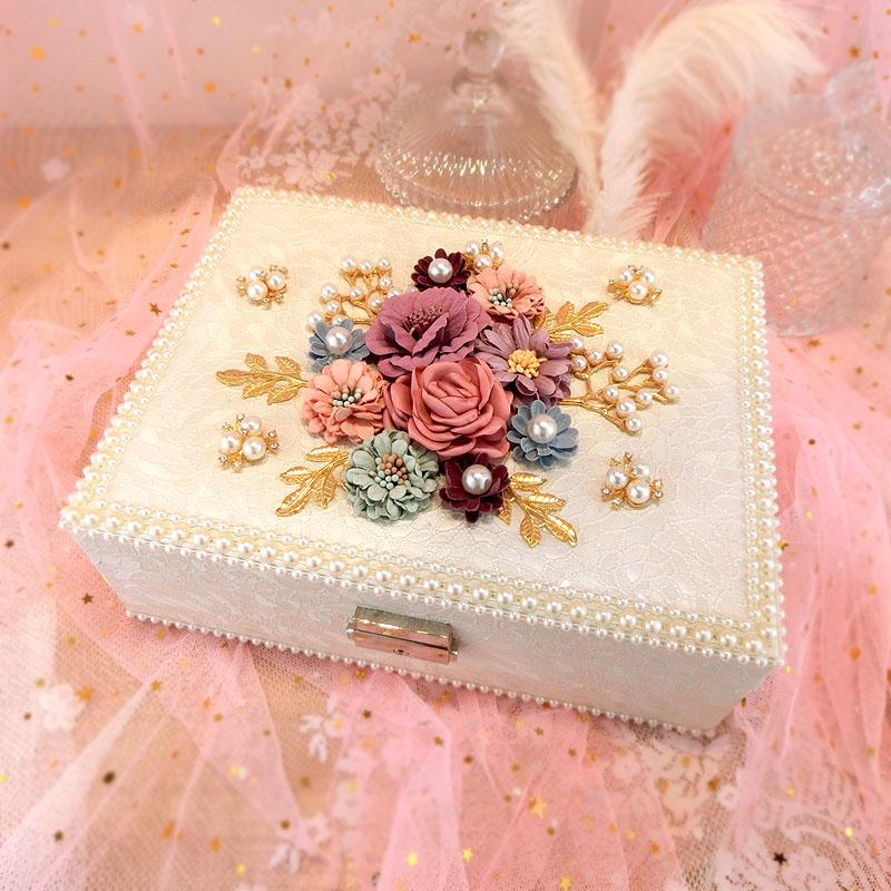 Boîte à bijoux créative de fleur boîte à bijoux de cour européenne de corée Double boîte de rangement de bijoux en bois