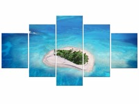 5 Pieces Arrival Modern Canvas Picture Painting Wall Art The Boat Sail To Love Island Sky