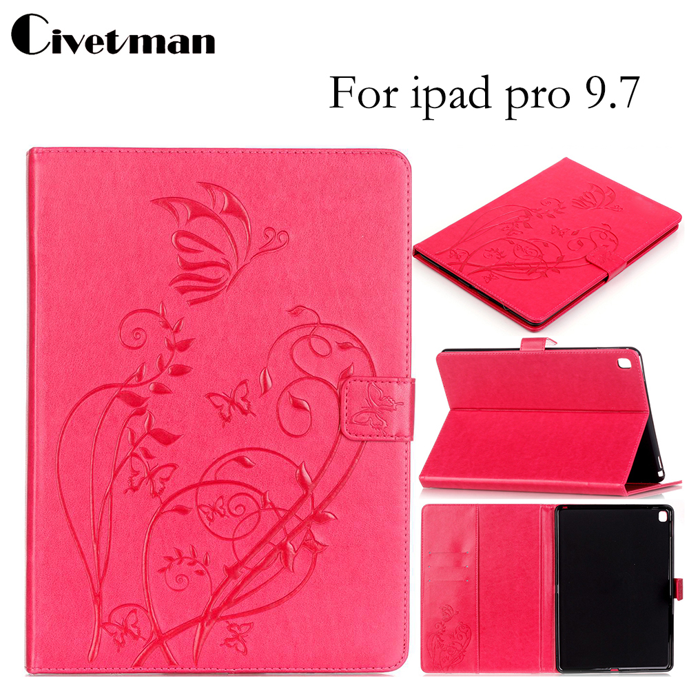 Civetman Wallet PU Leather Flip Smart Stand Cases For Apple iPad Pro 9.7 inch Case cover For ipad pro 9.7 Tablet Accessories for ipad pro 10 5 inch 2017 origami stand smart pu leather flip case cover brown