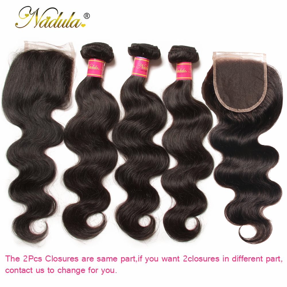 Nadula Hair 3 Bundles With 2Pcs Closures  Body Wave With Closure 100%  Bundles With 4*3 Lace Closure 2