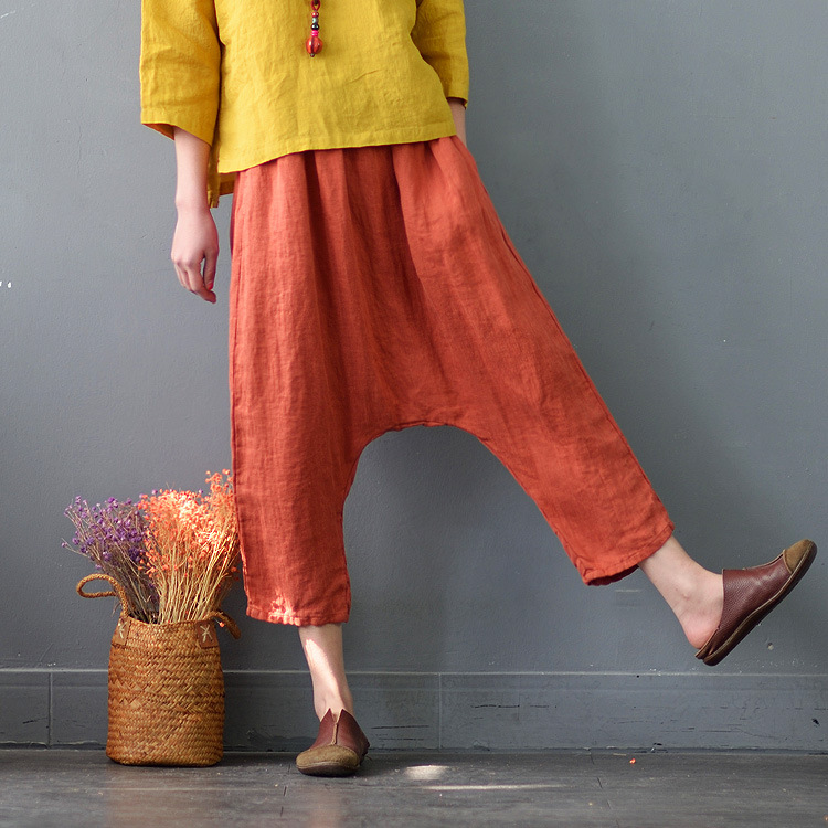 Summer New 3 Colro Street Fashion Calf length Long Crotch Women Pure Linen Capri Pants High