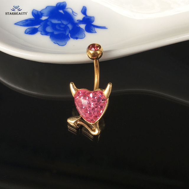Us 1 91 36 Off Cool White Devil Heart Navel Piercing Ombligo Navel Ring Pink Zircon Belly Piercing Nombril Belly Button Rings Pircing Jewelry On