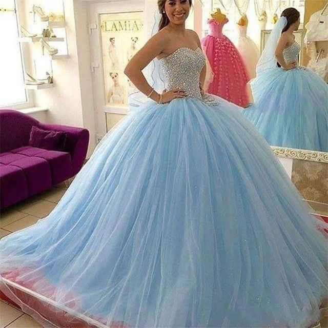 882ca7e8eb7 Cute Sweetheart Sky Blue Ball Gown Beading Quinceanera Dresses Tulle Prom  Party Formal Gowns