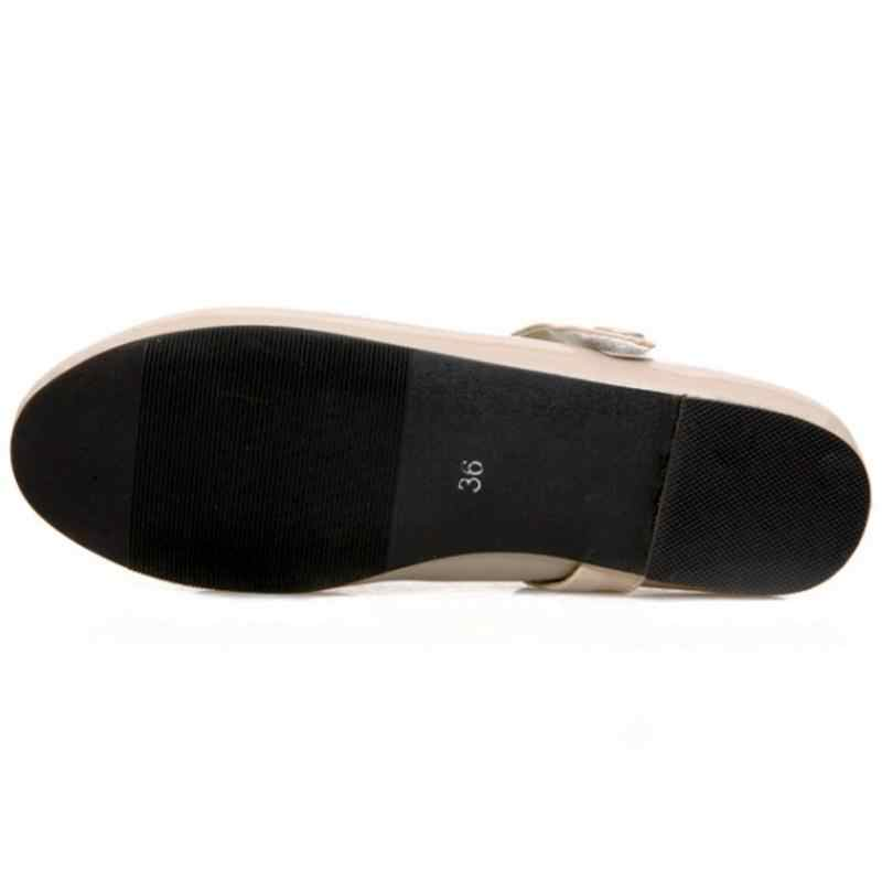 ZALAVOR Artı Boyutu 30-50 Kadın Düz Renk Flats Ayakkabı Kadın Ayak Bileği Kayışı Ayakkabı Kısa Ofis Elbise Ayakkabısı