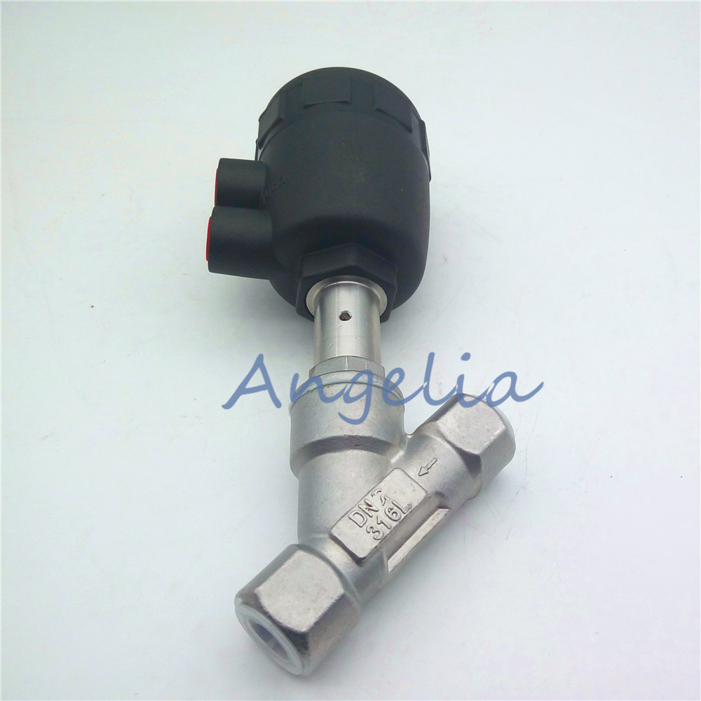 2 DN50 BSP Stainless Steel Double / Single Acting Air Actuated Angle Seat Valve Normally Open free shipping seat actuator double cheap steam water stainless steel valve angle dn25 1 inch normally open for air