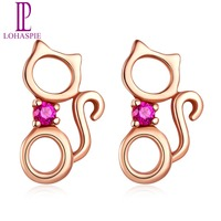 LP Solid 9K 10K 14K 18K Rose Gold Natural Gemstone Ruby Tiny Sweet Cat Stud Earrings Fine Jewelry For Women's Gift Factoryprice