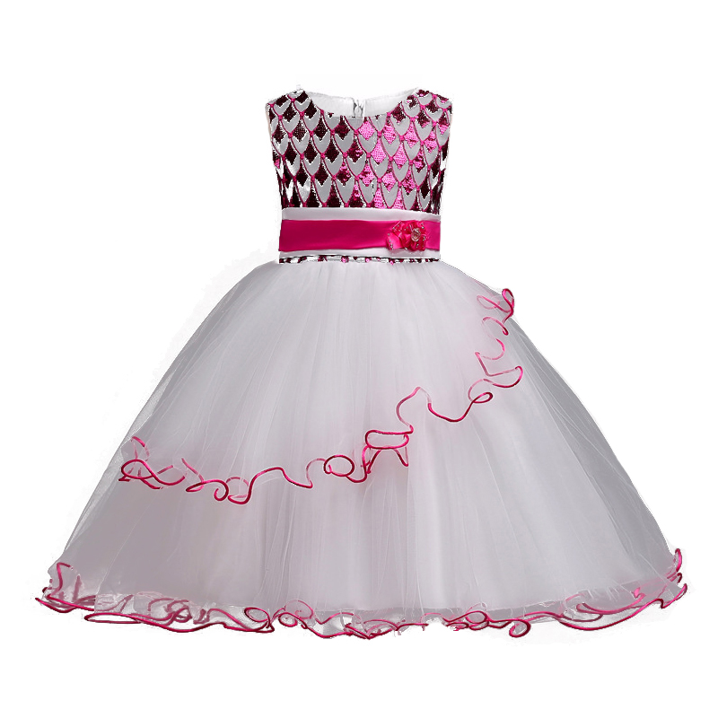 Flower Girls dresses for New Year Clothes Party Baby Girls Sleeveless Sequins Princess Wedding Dress Children Party Vestidos new year flowers flower dresses for wedding party baby girls christmas party princess clothing children summer dresses
