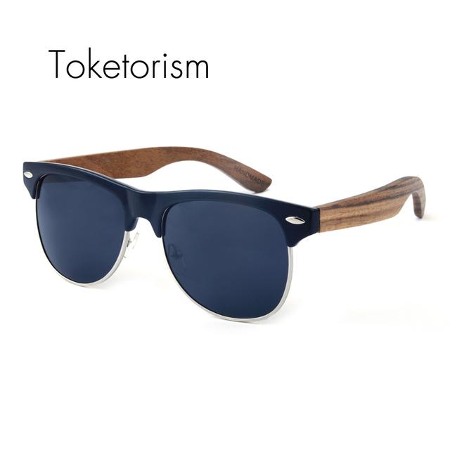 Retro clássico óculos de sol Metade armação de madeira natural de madeira clube oculos polarizados presentes legal para mulheres dos homens 3051