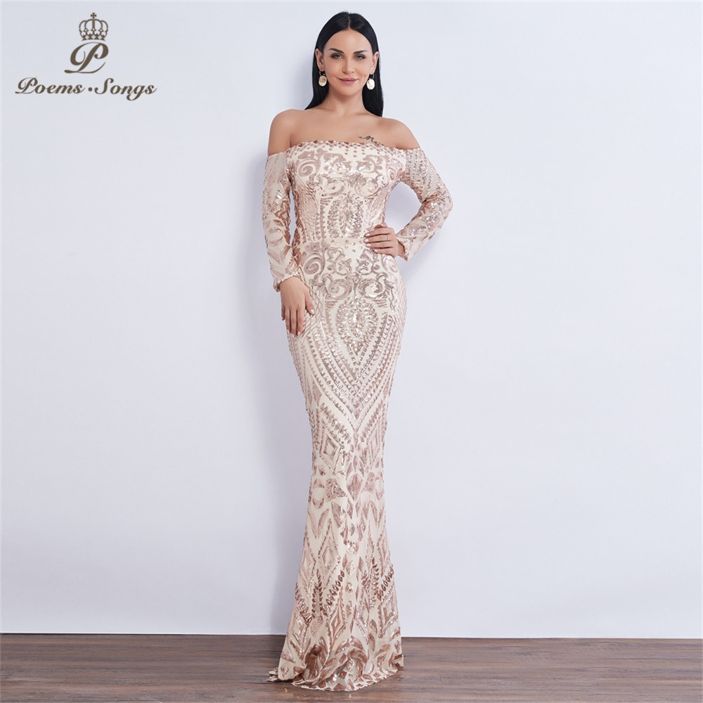 Poems Songs 2019 NEW Long Sleeve Sequin Evening Dress Vestido De Festa Formal Mermaid Vestido De Noche Robe De Soiree Prom Dress