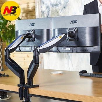 NB F185A Aluminum Alloy 22-27 inch Dual LCD LED Monitor Mount Gas Spring Arm Full Motion Holder Support with 2 USB Ports