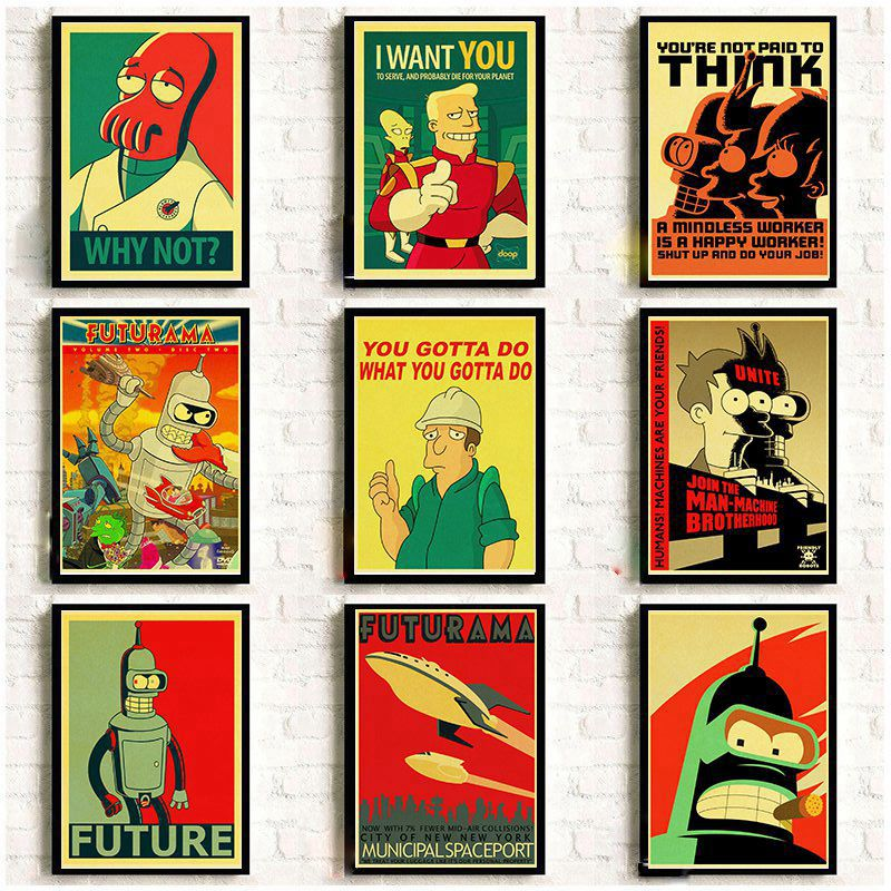 American Comic TV Series Futurama Retro Posters Vintage Kraft Paper Prints Wall Painting Good Quality Decorative Wall Decor