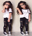 2017 Europe style kid girls clothes letter print whiteT-Shirt top tees+Hole Pants clothing set summer children clothing DY172