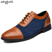 WHOHOLL Classic Oxford Shoes for Men Fashion Vintage Leather Casual Breathable Dress Zapatos De Hombre