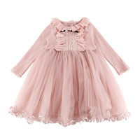 Hurave 2018 Summer Baby Girl Solid Ruffles Dress Clothes Children Long Sleeve Mesh Clothing Kids Cute