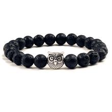 Bracelet classique en pierre naturelle pour hommes, perles de lave noires mates, breloque, hibou brin, bijoux de prière pour femmes