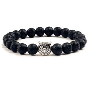 Image 1 - Classic Natural Stone Men Bracelet Matte Black Lava Volcanic Beads Charm Owl Strand Bracelets Women Prayer Jewelry
