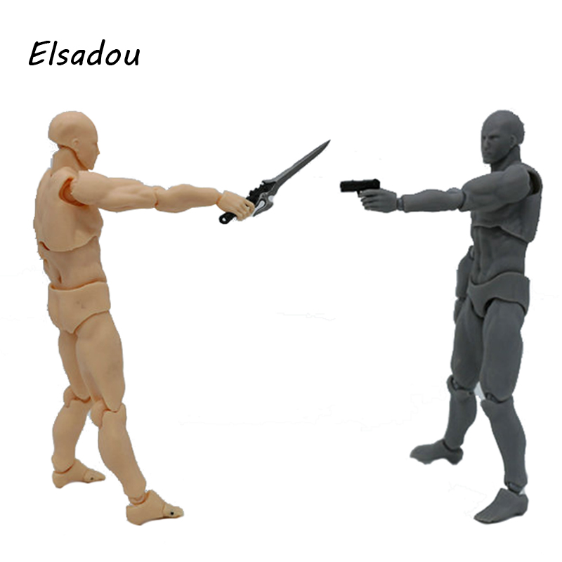 Elsadou Figma BODY KUN Body Chan Action Figure Toy Doll shfiguarts pvc body kun body chan body chan body kun grey color ver black action figure collectible model toy