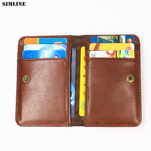 Genuine Leather Card Holder For Men Women Vintage Business Short ID Credit Card Holders Case Slim Mini Small Wallet Coin Purse 2017 genuine leather women men id card holder coin purse card wallet credit card business card holder protector organizer hb43