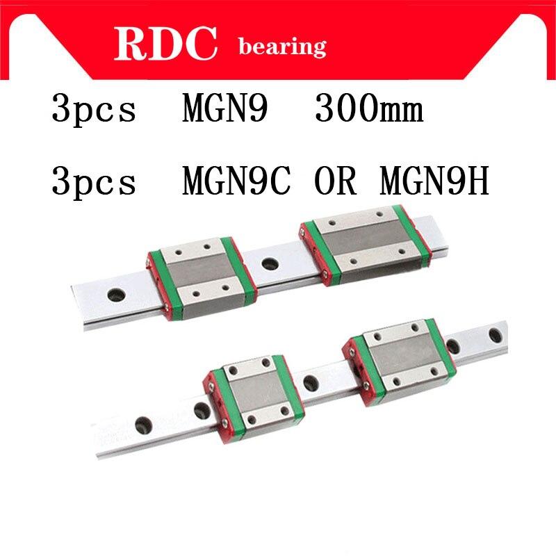 3 pz 9mm Guida Lineare MGN9 L = 300mm lineari della guida elemento di modo + 3 pz MGN9C o MGN9H lunga trasporto lineare per CNC XYZ Axis