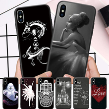 Ballet Girl Tribe Texture Dolphin Gragon Pattern For iPhone 5 5S SE 6 6S 7 8 Plus X XR XS Max Hard Phone Case cross tribe design aluminum metal coated hard shell case for iphone 5s 5