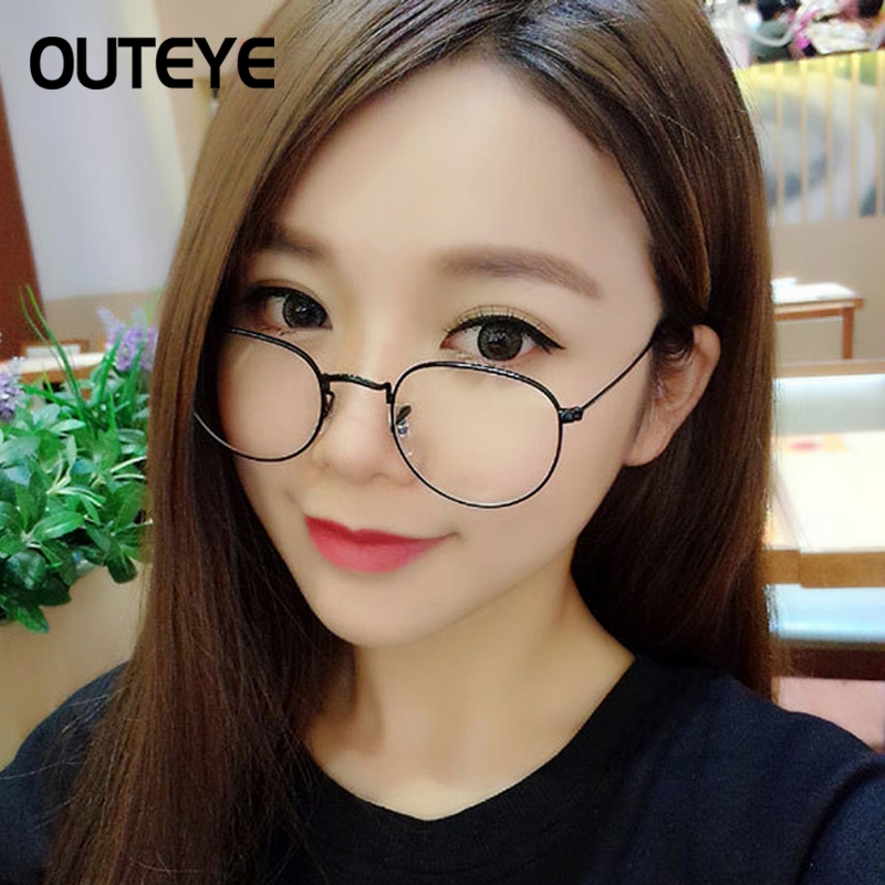 OUTEYE Vintage Frauen Brillen rahmen Klare Linse Harajuku Metall ...