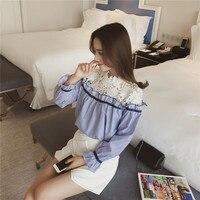 Moda Primavera Nova Camisa Bonito Lace Costura Oco Sexy das Mulheres l Alargamento Mangas Meninas Blusas Camisas Listradas Blusas de Senhora S-XL