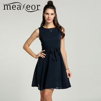 Meaneor Women Casual Dress Women O Neck Dress Sleeveless A Line Women Pleated Dress
