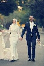2017 Elegant Muslim Islamic Hijab Mermaid Wedding Dresses Appliques Long Sleeve Dubai Kaftans Caftan Bridal Gown For Wedding